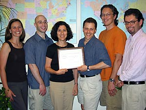 The GenePattern team: (l-r) Charlotte Henson, Josh Gould, Jill Mesirov, Michael Reich, Ted Liefeld, and Pablo Tamayo. Missing from the photo: Gad Getz, Jim Lerner, Stefano Monti, Ken Ross, and Aravind Subramanian